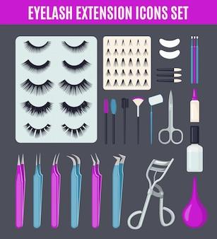 Conjunto de ferramentas de extensão de cílios em estilo simples.