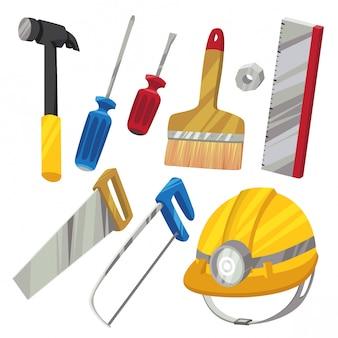 Conjunto de ferramentas de hardware em estilo cartoon b