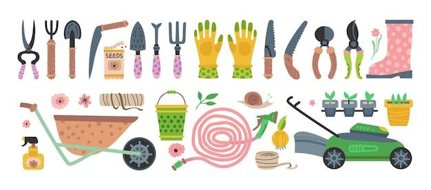 Conjunto de ferramentas de jardim. coleção de equipamentos de jardinagem plana de vetor