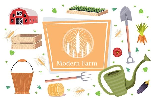 Conjunto de ferramentas de jardim e fazenda coleção de equipamentos de jardinagem conceito de agricultura ecológica orgânica