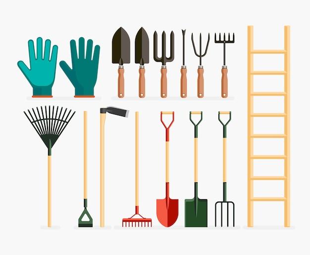 Conjunto de ferramentas de jardim e itens de jardinagem.