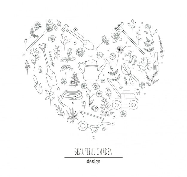 Conjunto de ferramentas de jardim preto e branco. coleção de pá, pá, ancinhos regador emoldurado em forma de coração. ilustração do estilo dos desenhos animados. conceito temático de jardinagem.