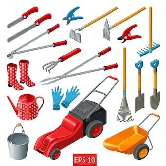 Conjunto de ferramentas de jardim.