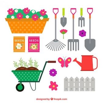 Conjunto de ferramentas de jardinagem coloridas planas