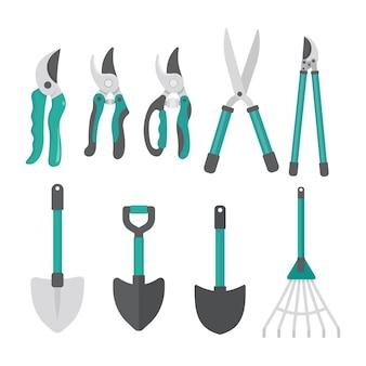 Conjunto de ferramentas de jardinagem de vetor. design gráfico plano simples isolado em um fundo branco