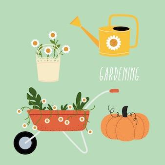 Conjunto de ferramentas de jardinagem, design de ícones, plantio de jardim e natureza