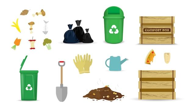 Conjunto de ferramentas de jardinagem e compostagem