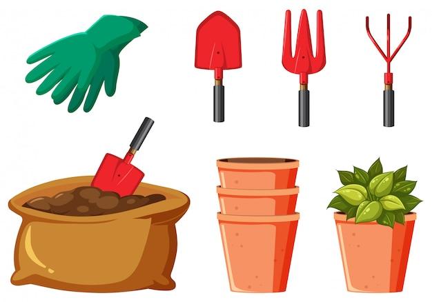 Conjunto de ferramentas de jardinagem em fundo branco