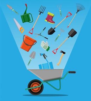 Conjunto de ferramentas de jardinagem. equipamentos para jardim