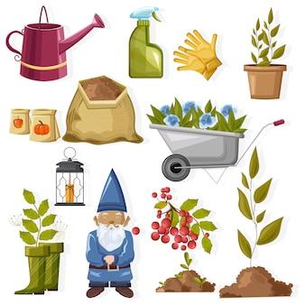 Conjunto de ferramentas de jardinagem outono com flores
