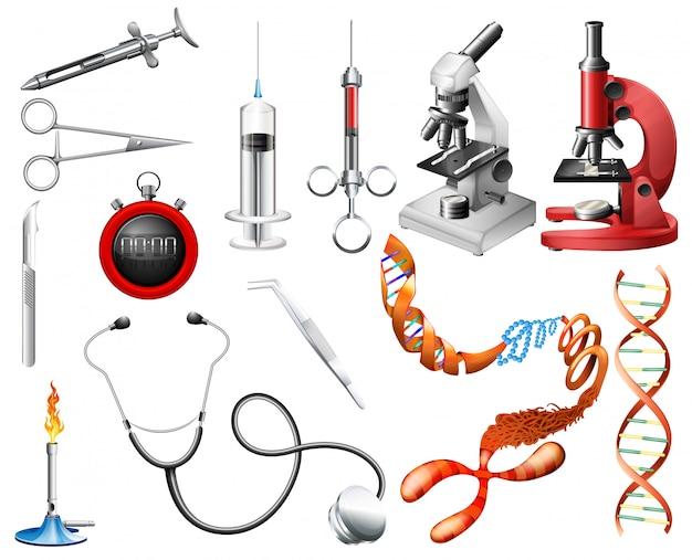 Conjunto de ferramentas de laboratório e equipamentos