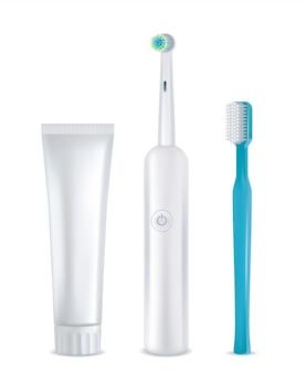 Conjunto de ferramentas de limpeza dentária, realista