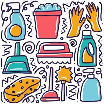 Conjunto de ferramentas de limpeza desenhadas à mão com ícones e elementos de design