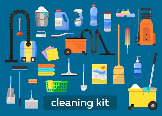 Conjunto de ferramentas de limpeza.