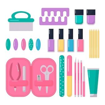 Conjunto de ferramentas de manicure design plano