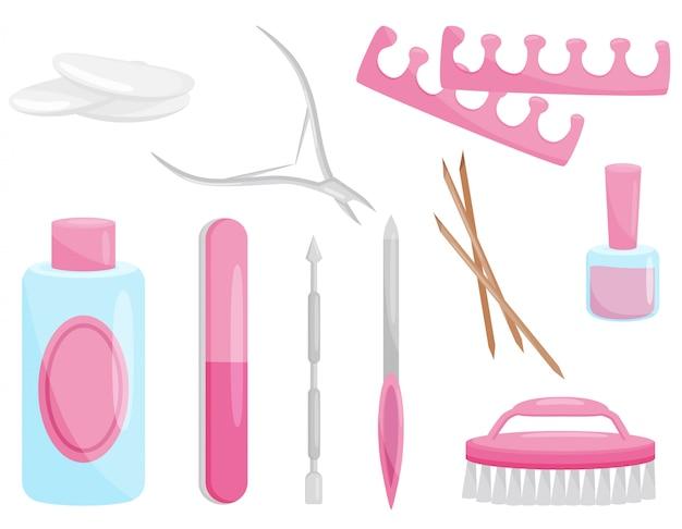 Conjunto de ferramentas de manicure e pedicure. instrumentos profissionais para cuidados com as unhas. tema da beleza
