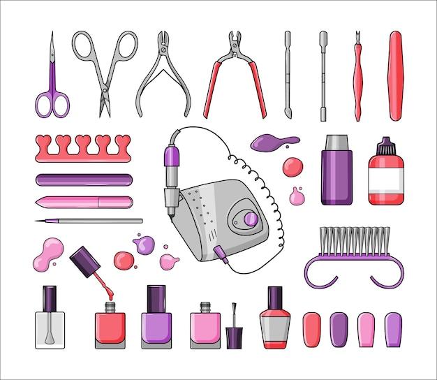 Conjunto de ferramentas de manicure, esmaltes
