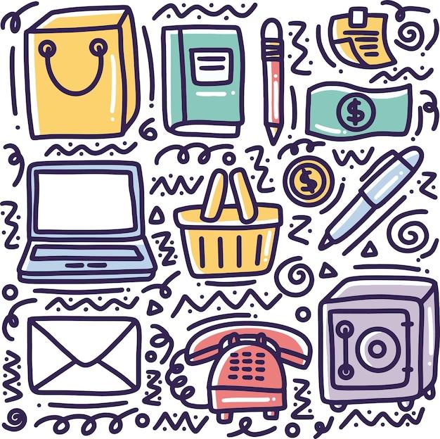 Conjunto de ferramentas de negócios desenhando à mão com ícones e elementos de design