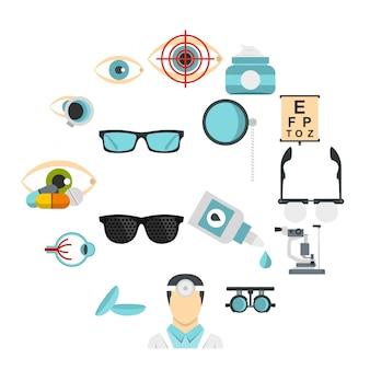 Conjunto de ferramentas de oftalmologista ícones planas