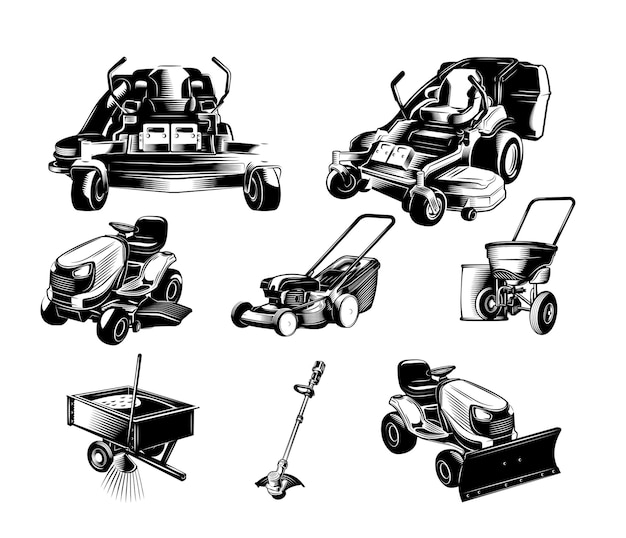 Conjunto de ferramentas de paisagismo.