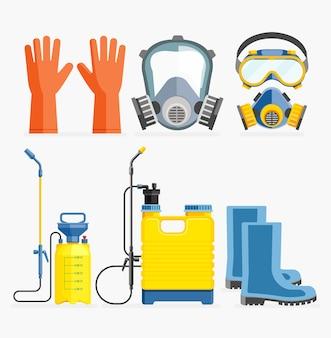 Conjunto de ferramentas de pesticidas.