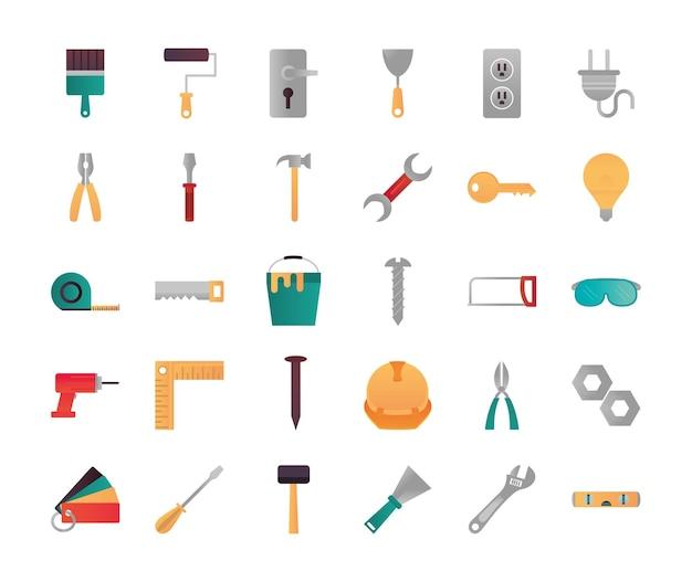 Conjunto de ferramentas de renovação de reparos domésticos e ícones de equipamentos