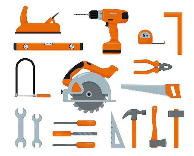 Conjunto de ferramentas de trabalho. construção, construção, decoração, elementos de reparo.