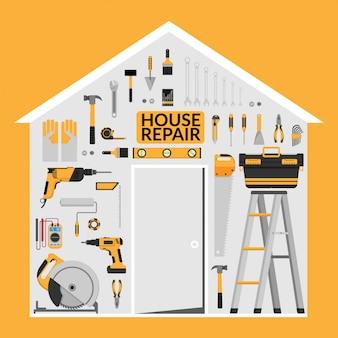 Conjunto de ferramentas de trabalho de reparação casa diy sob o telhado em forma de casa