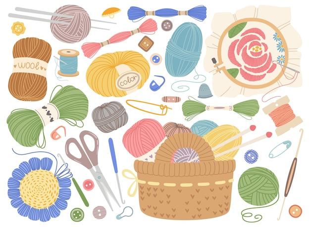 Conjunto de ferramentas de tricô, bordado, costura ou equipamento de crochê
