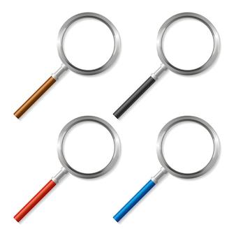Conjunto de ferramentas de zoom de lupa colorida no fundo.