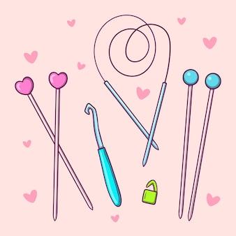 Conjunto de ferramentas desenhado à mão para tricô, agulhas de tricô e crochê