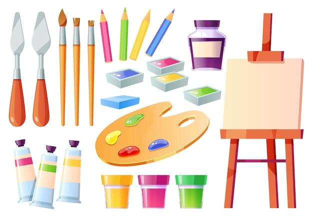 Conjunto de ferramentas do artista