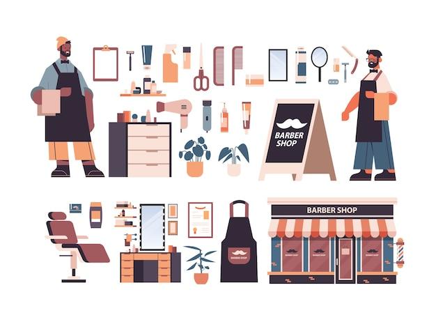 Conjunto de ferramentas e acessórios de barbearia com barbeiros de raça mista masculina em uniforme de barbear e coleção de equipamentos de cabeleireiro ilustração vetorial horizontal isolada