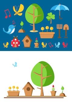 Conjunto de ferramentas e elementos de jardim com imagens de joaninha, panela, chão, regador, casinha de pássaros e muitos outros objetos