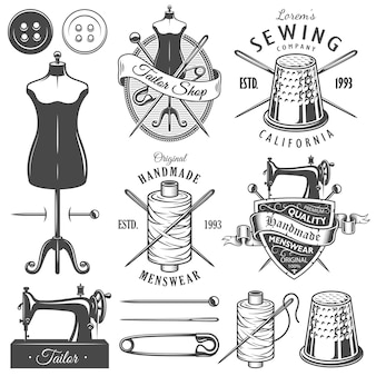 Conjunto de ferramentas e emblemas monocromático vintage alfaiate.