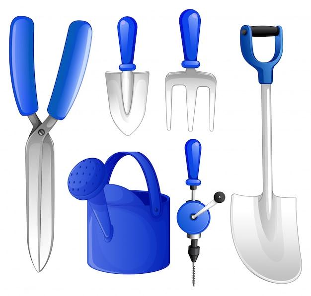 Conjunto de ferramentas e equipamentos de jardinagem