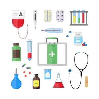 Conjunto de ferramentas e equipamentos de saúde médica.
