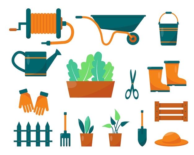 Conjunto de ferramentas e plantas de jardinagem