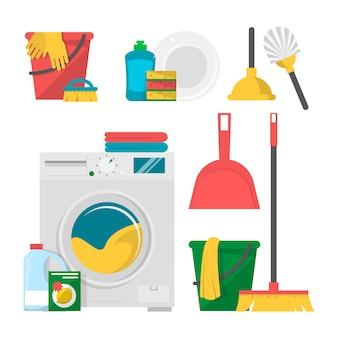 Conjunto de ferramentas e produtos de limpeza doméstica isolado