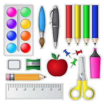 Conjunto de ferramentas e suprimentos escolares