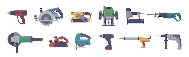 Conjunto de ferramentas elétricas. ferramentas elétricas isoladas.