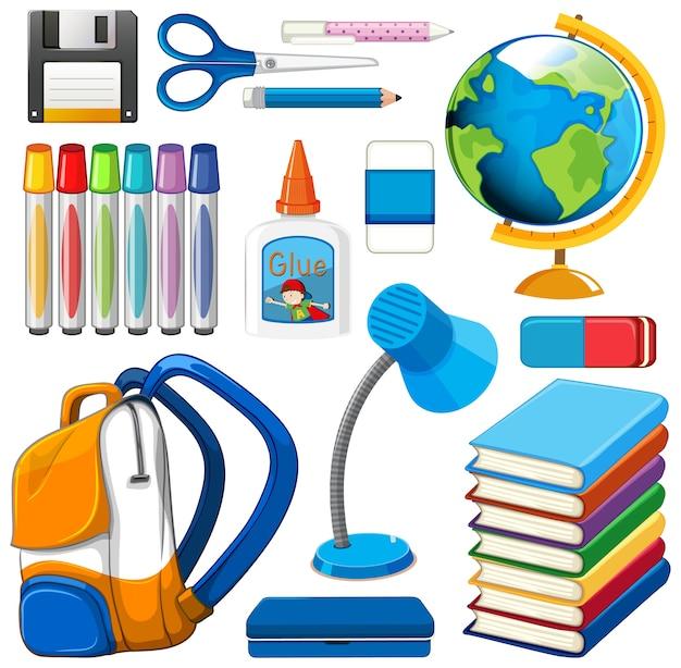 Conjunto de ferramentas fixas e escola