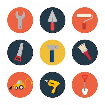 Conjunto de ferramentas ícone do design de construção