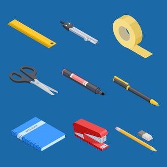 Conjunto de ferramentas isométrica de papelaria e escritório