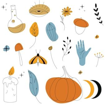Conjunto de ferramentas mágicas. padrão colorido com elementos de bruxaria. ilustração vetorial