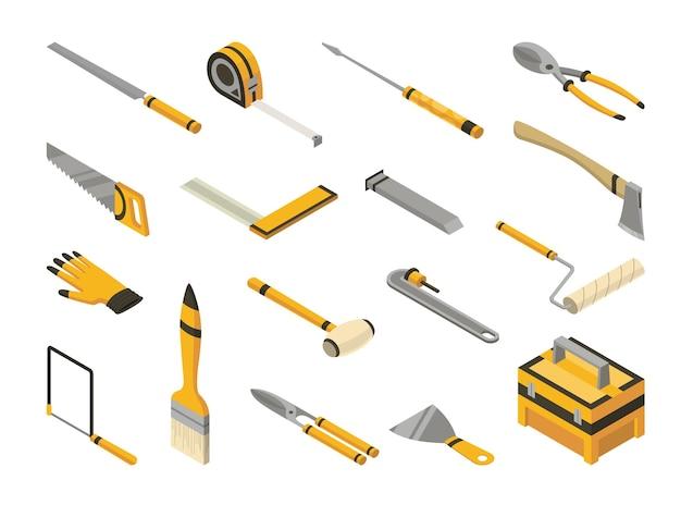 Conjunto de ferramentas manuais isométricas. ícones detalhados de ferramentas para reparo de faz-tudo.