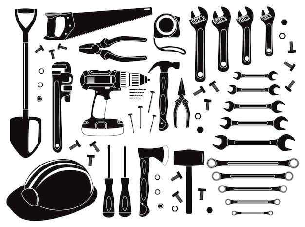Conjunto de ferramentas manuais no carrinho de compras