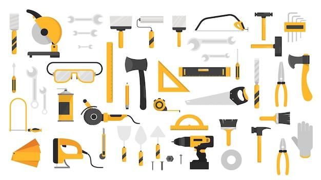 Conjunto de ferramentas manuais. recolha de equipamento para reparação