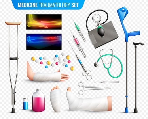 Conjunto de ferramentas médicas de trauma