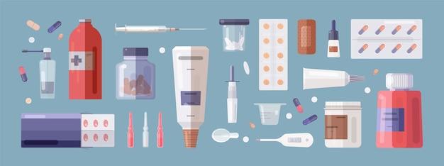 Conjunto de ferramentas médicas e medicamentos